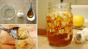 Garlic soaks in the honey