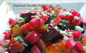 Rhubarb fruit salad with feta cheese