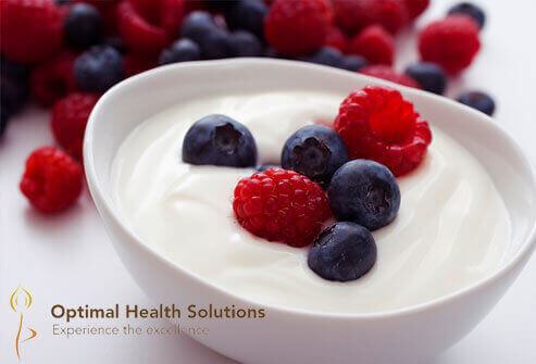Yogurt topped with fruits